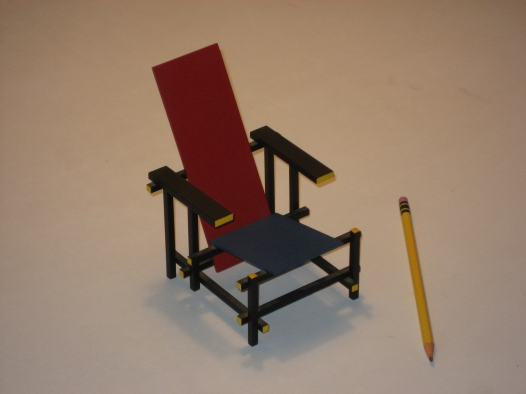 Jim Holt's miniature replica of the Rietveld chair