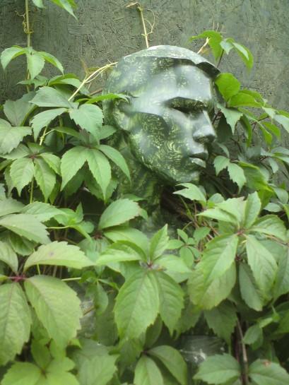 Antony Price's mannequin in his garden