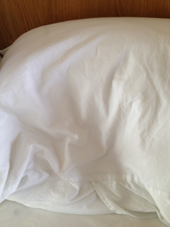 The imprint of Tim Marlow's son's head on his pillow