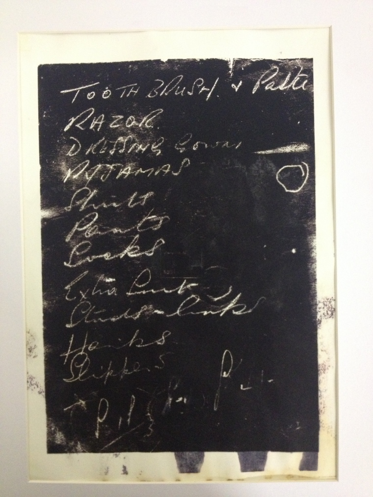 A list in the handwriting of Julia Bardsley's father