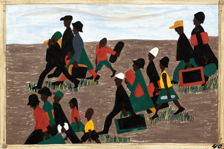 Lawrence, Jacob (1917-2000) Title: The migrants arrived in great numbers. Panel 40 from The Migration Series, 1940-41 Copyright: Jacob Lawrence DIGITAL IMAGE © date, The Museum of Modern Art/Scala, Florence