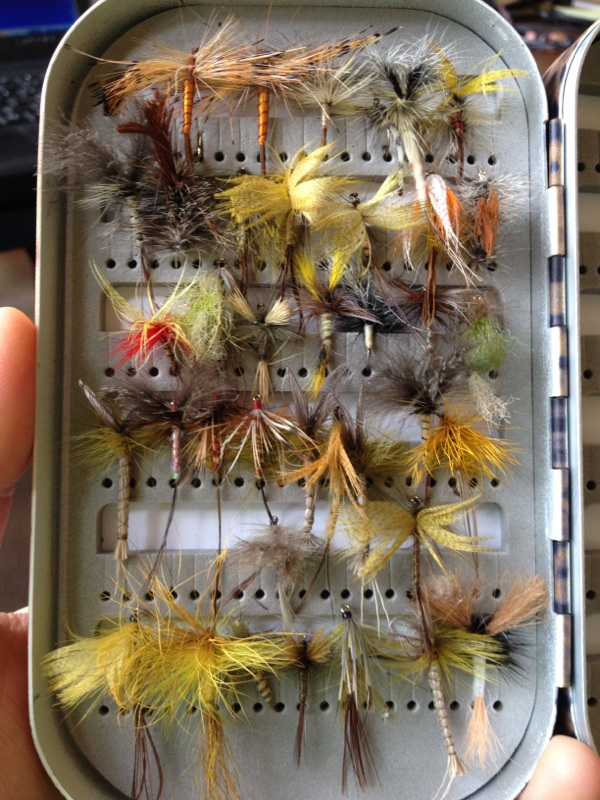 Valentine Warner's box of fishing flies
