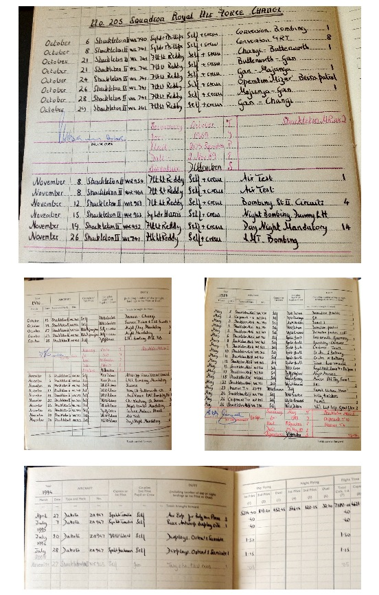 RAF log books that were owned by George Hencken's father